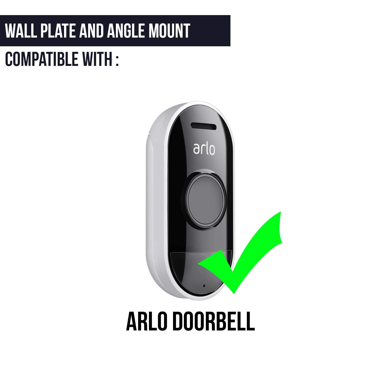 negro Soporte de pared para Arlo Audio Doorbell con /ángulo ajustable de Wasserstein