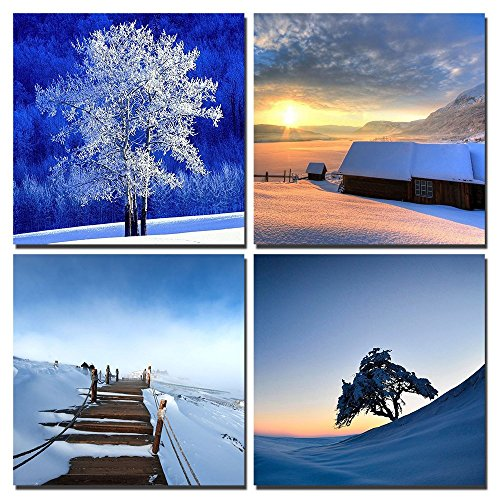 Gardenia Art - Charming Snow Scene Lovely Trees Canvas Wall Art Prints 12 x 12 Inch Stretched and Framed Modern Decor Paintings Artwork for Living Room Bedroom Decoration Ready to (Christmas Tree Snow Pictures)