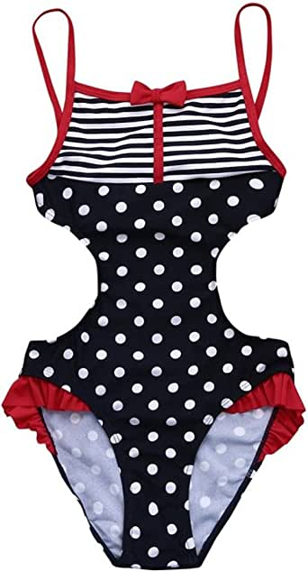 Amazon.com: KONFA Teen Baby Girls Swimwear Stripes Dots