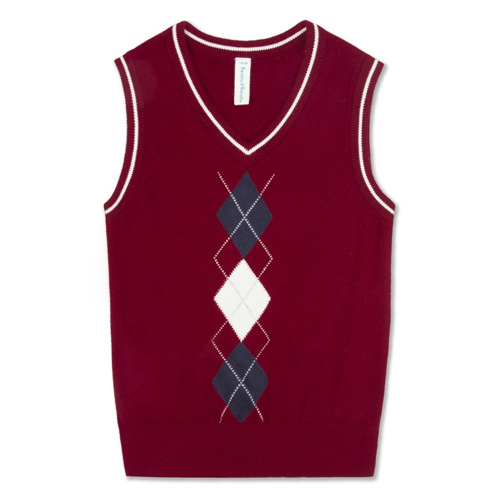 Benito & Benita Boys' Sweater Vest School V-Neck Uniforms Pullover Sweaters With Argyle Patterns for Boys 3-12Y 8BS007Parent
