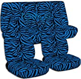 zebra blue car seat covers - Animal Print Car Seat Covers: Blue Zebra - Semi-custom Fit - Full Set - Will Make Fit ANY Car/Truck/Van/SUV (29 Prints)