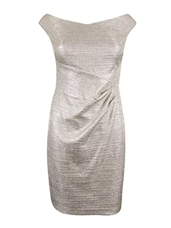 Ralph Lauren Womens Petites Metallic Foil Sheath Dress 2p Silver