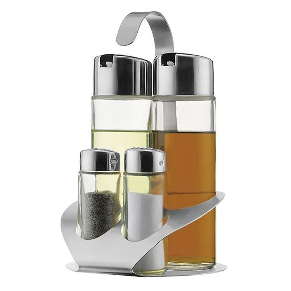 Olive Oil Dispensers BEBEGO Stainless Steel Four-Hole S Rack Cruet Set,Olive Oil and Vinegar Bottle and Small Salt/Pepper Bottle,4+1 Matching One Time Meets All the Needs of Your Kitchen (Silver)
