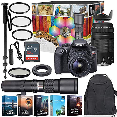 Canon EOS Rebel T6 DSLR Camera with 18-55mm & 75-300mm Lenses Kit + 500mm Preset Wildlife Lens – Deluxe Professional Photo & Video Creative Bundle