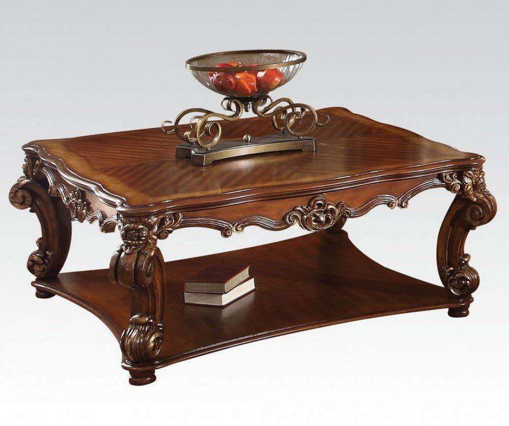 Cherry Coffee Table.Amazon Com Acme Vendome Cherry Coffee Table Kitchen Dining