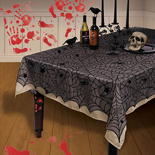 54 x 72 Inch Halloween Decoration Spider Web Tablecloth Black Lace Cobweb Tablecloth Festive Party Supplies for Halloween Parties, Décor, Dinner & Spooky Meals (Black) (Halloween Party Meal)