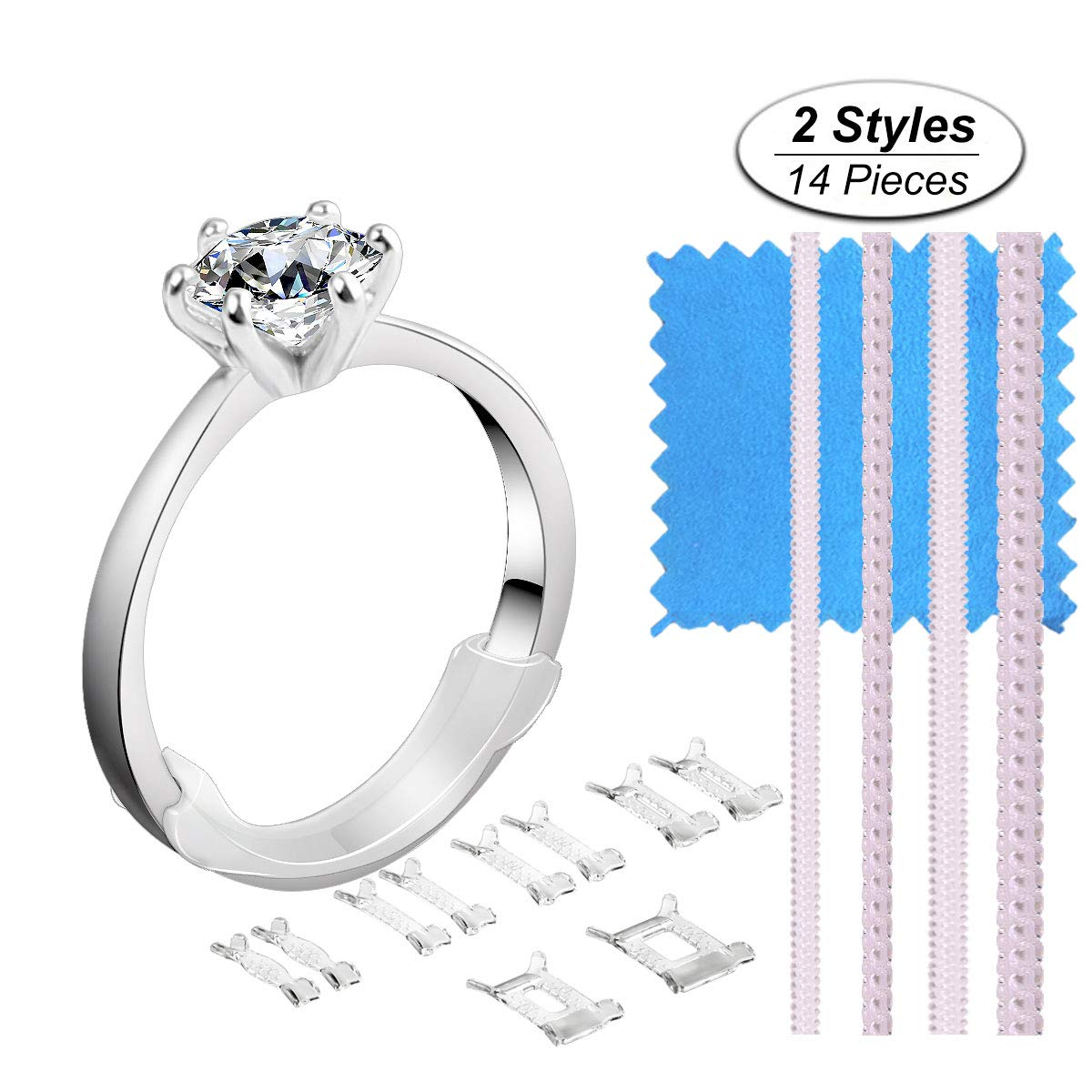 Ring Size Adjuster 2 Styles Invisible Ring Adjuster Sizer Reducer with Jewelry Polishing Cloth for Loosing Rings, 72+4+4 Pieces, 4 Colors eMigoo