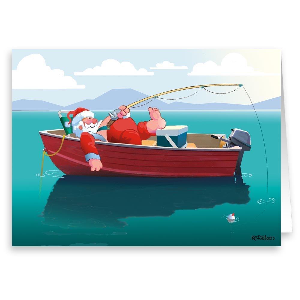 Amazon.com: Santa Fishing in Boat Christmas Card- 18 Cards ...