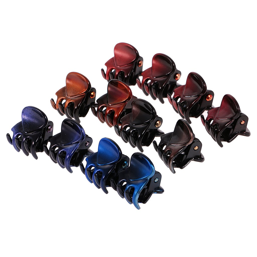 MagiDeal 12 Pieces/ Lot Wholesale Mixed Color Lady Girl Mini Hair Resin Claws Clamps Clips Hair Grips Hair Accessories - 4