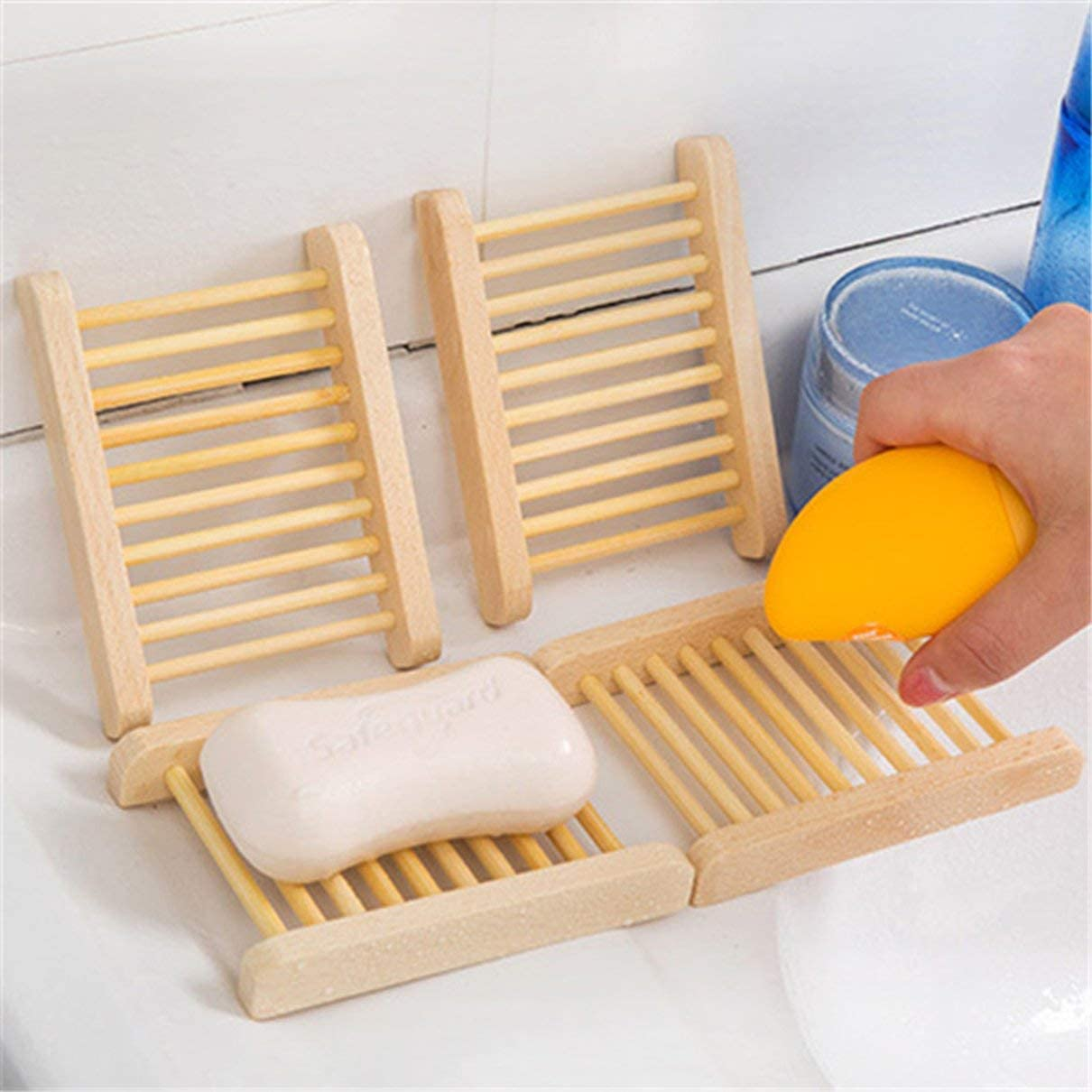 Creative Handmade Natural Wooden Soap Dish Box Container Drain Rack Soap Holder Home Bathroom Accessories