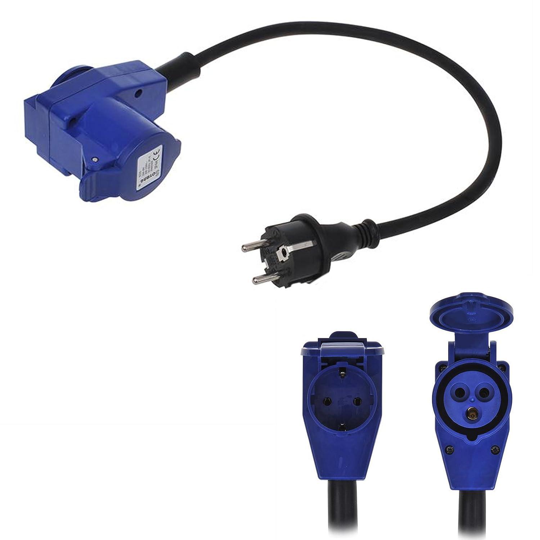 CEE Neopren Adapter,CEE auf Schuko mit Winkelstecker, 200-250V, 16A, 40 cm, VDE, ideal fü r Camping Pat