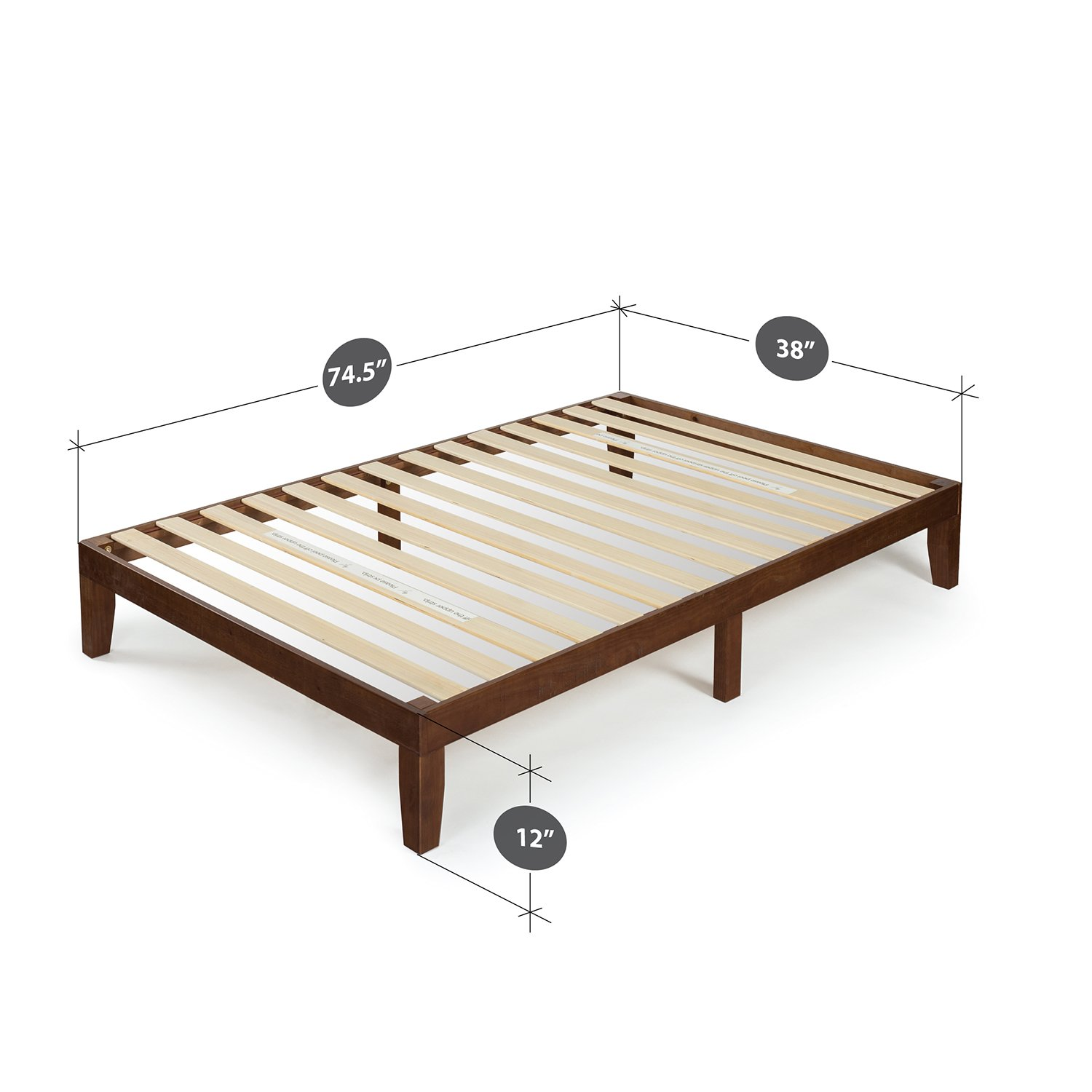Zinus 12 Inch Wood Platform Bed / No Boxspring Needed / Wood Slat Support / Antique Espresso Finish, Twin by Zinus (Image #2)