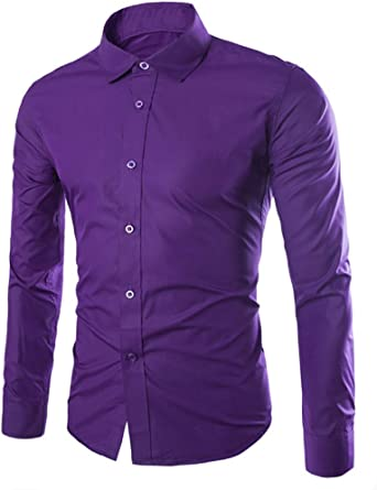 camisa para hombre lisa manga larga de primera calidad color