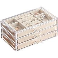 HerFav Smyckeskrin för kvinnor med 3 lådor, sammet smycken arrangör för örhänge armband halsband och ringar förvaring…