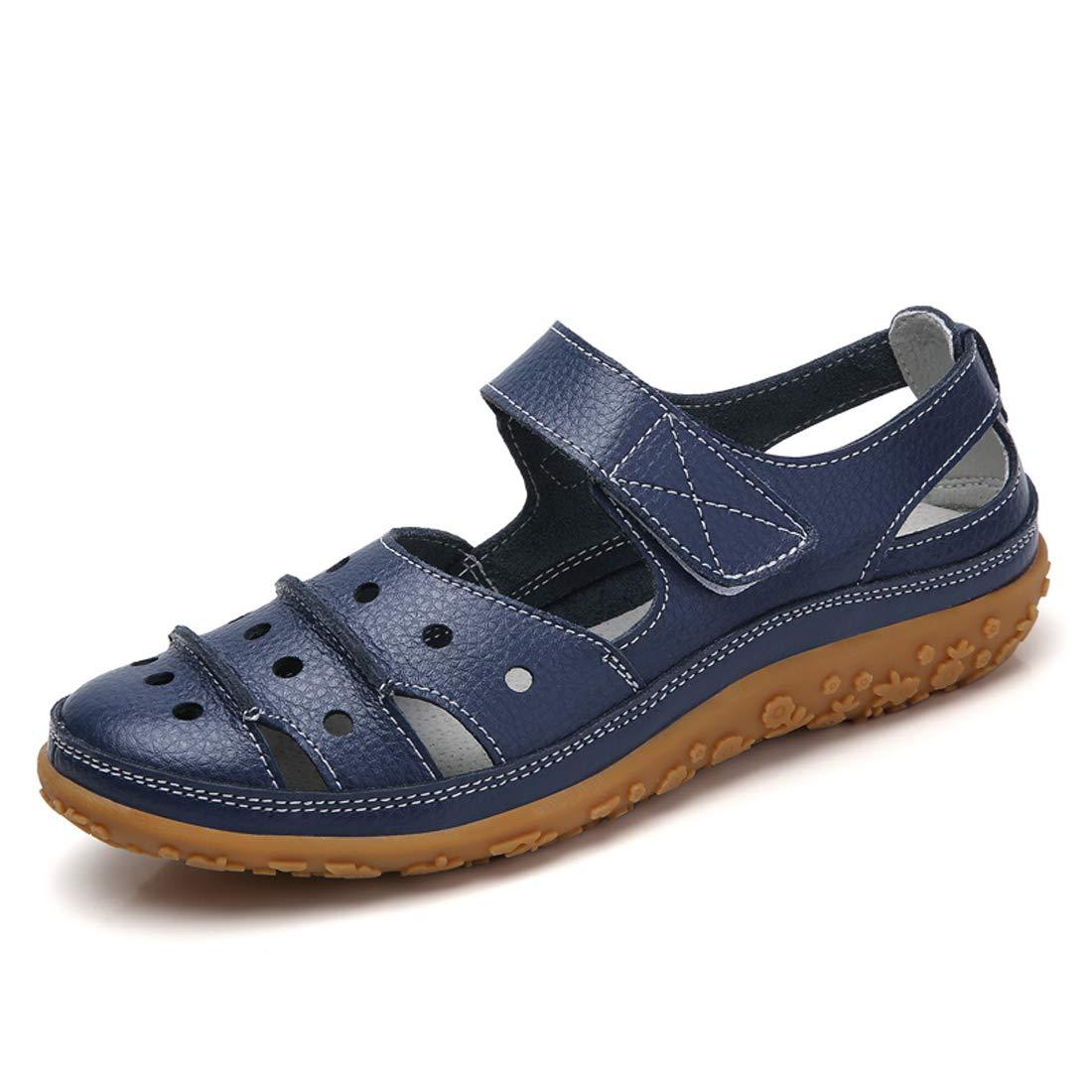 6c83d0749d7 Z.SUO Sandalias Mujer de Cuero Planas Cómodos Casual Mocasines Loafers Moda  Zapatos Plano Verano Sandalias y Chanclas