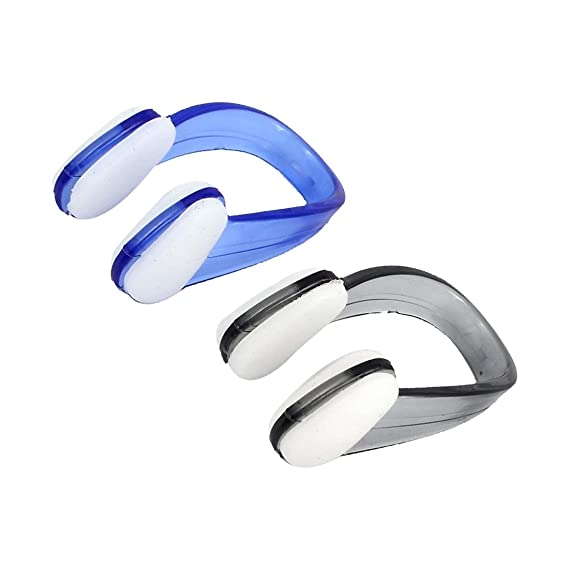 Schwimmen Tauchen Wasserdicht Nasal Splint Nasenklammer Blau Weiss 2 Stueck R SODIAL Schwimmen Nasenklammer
