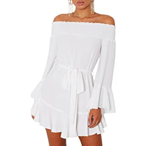 edc489df424 Face N Face Women's Casual Off Shoulder Striped Ruffles Strapless ...