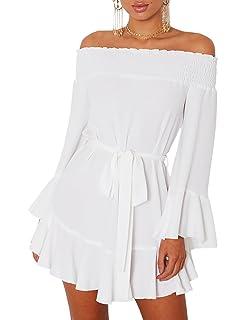 Boutiquefeel Vestido Corto sin Hombro con Mangas de Corneta y Cordón Plisado Casual para Mujer
