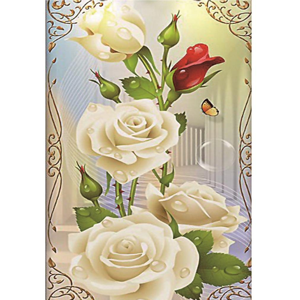 30×40cm White Rose Cross Stitch,New 5D Painting Diamonds Rhinestone Embroidery Painting Round Handmade Paintings Home Decor Aobuang