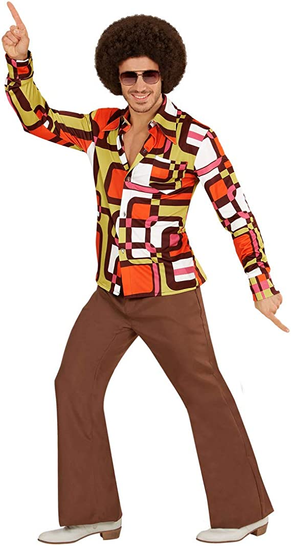 Amakando Camisa para Hombre de los años 70 y 80 Estilo Disco / En Talla XXL (ES 56) / Disfraz de Culto Saturday Night elección para Fiestas de música Popular y carnavales: