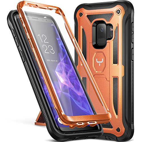 Galaxy S9 Case, YOUMAKER Heavy Duty Protection Kickstand with Built-in Screen Protector Shockproof Case Cover for Samsung Galaxy S9 5.8 inch (2018 Release) - Orange/Black