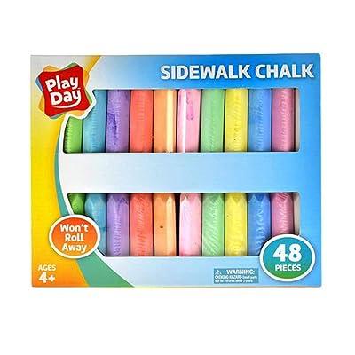 Play Day 48-Piece Won't Roll Away Sidewalk Chalk: Toys & Games