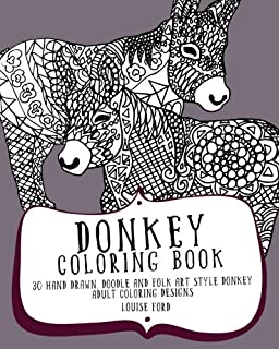 Donkey Coloring Book 30 Hand Drawn Doodle And Folk Art Style Adult