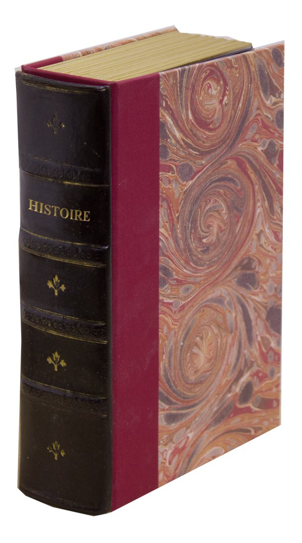Original Book Works US129B Reproduction Antiqued Faux Leather Hidden Book Safe, ''HISTOIRE'', Black