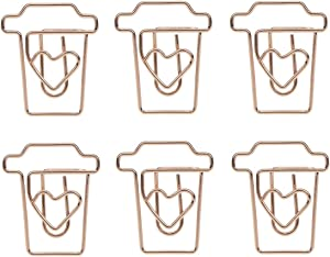 Shoppingmoon Coffee Cup Mug Shaped Paper Clips Metal Note Clips for Office School Wedding Decoration Pack 12pcs