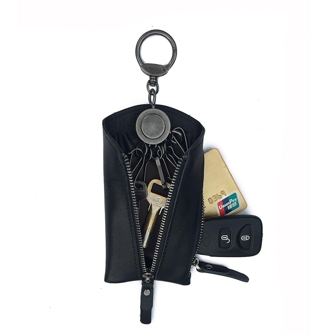 YTTAO Genuine Leather Keychain Wallet/Keyring Wallet/Keychain Pouch/car Key Leather Holder (Black)