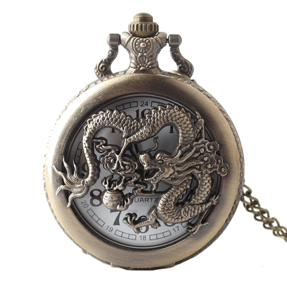 Shirleyle Creative Dragon Carved Hollow Vintage Quartz Pocket Watch With Chain For Women Men