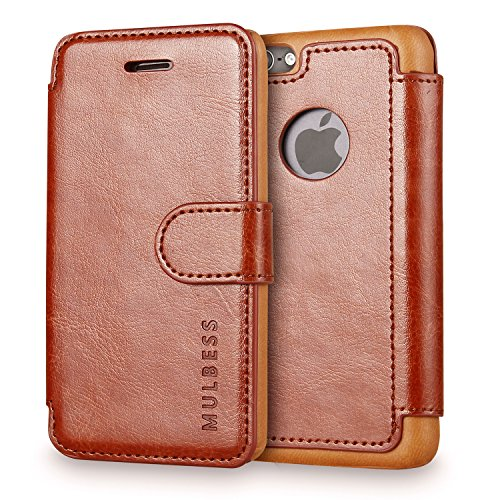 Mulbess Vintage Series Ultra Slim Layered Dandy PU Leather Flip Wallet Case with Card Slot for Apple iPhone 5/5S - Coffee Brown