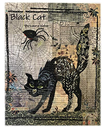 Black Cat Halloween Fiberworks Laura Heine Fused Art Quilt Pattern