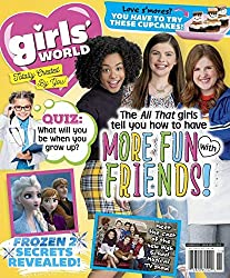 Girls' World is a children's magazine for girls ages 7-12. It's filled with crafts, party ideas for fun with friends, and advice for everything in a girl's life! It's designed to inspire creativity through artwork, crafts, and recipes.