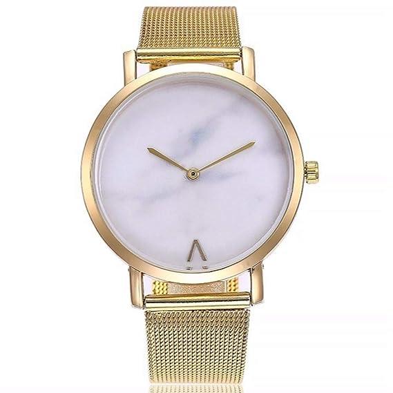 ZXMBIAO Reloj De Pulsera Unisex Ultra Thin Marble Dial Relojes Moda Mujer Hombre Acero Inoxidable Relojes De Pulsera De Cuarzo, Oro: Amazon.es: Relojes