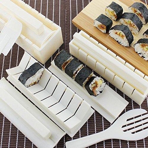 Sushi Master Sushi Kit – Easy to Use DIY 10 Piece Sushi Making Kit with 8 Inch Non Stick Sushi Chef Knife