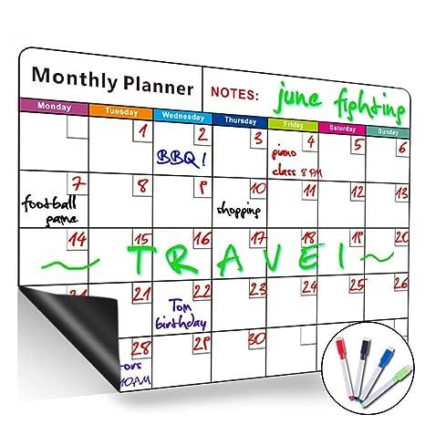 Pizarra blanca magnética de borrado en seco, con calendario mensual, organizador mensual y semanal, planificador para frigorífico de cocina, el aula ...