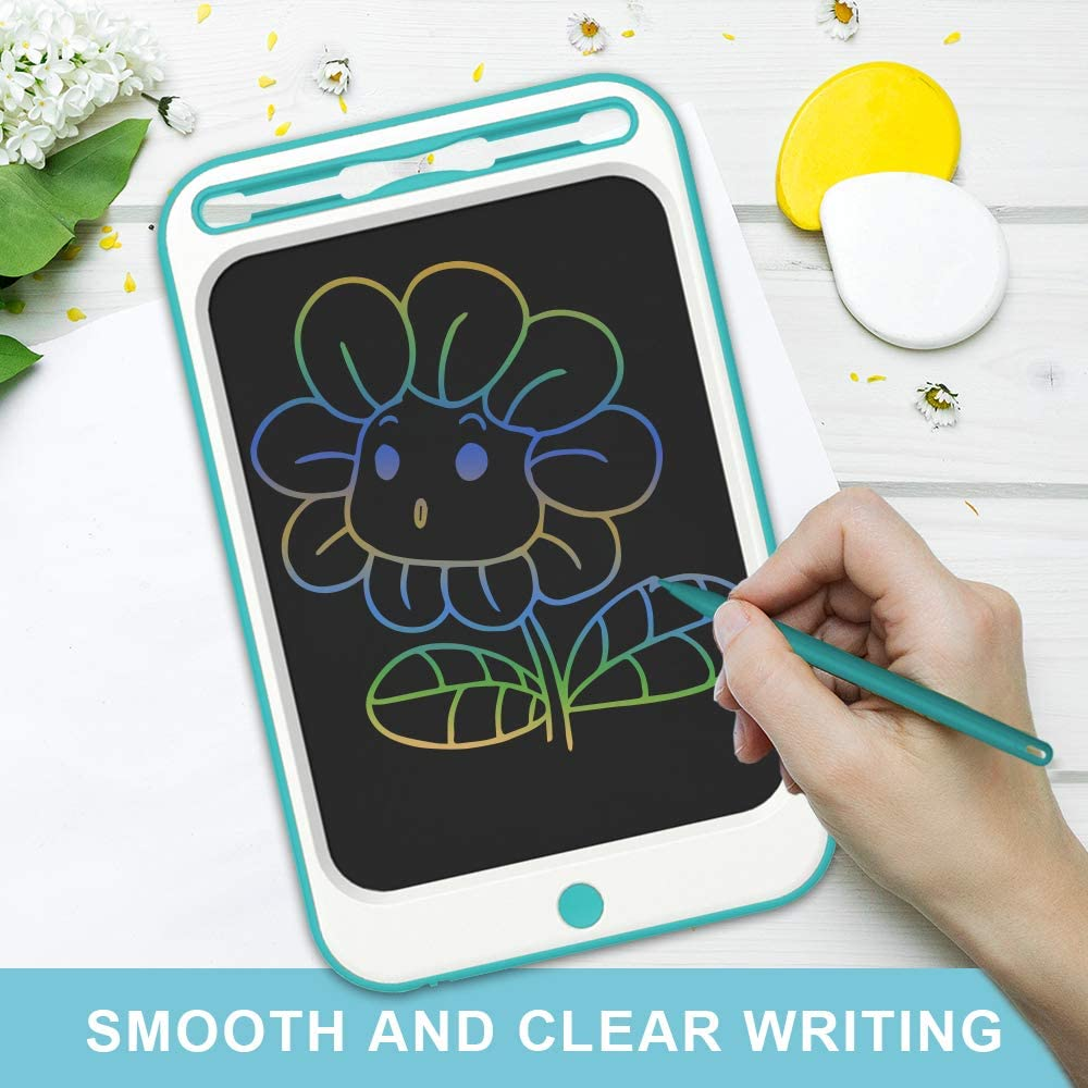 JONZOO LCD Writing Drawing Tablet 10 inch Colorful Electronic Doodle Board with Screen Lock Digital Sketch Pad Erasable Reusable eWriter Paperless Tool for Kids Adults at Home//School//Office