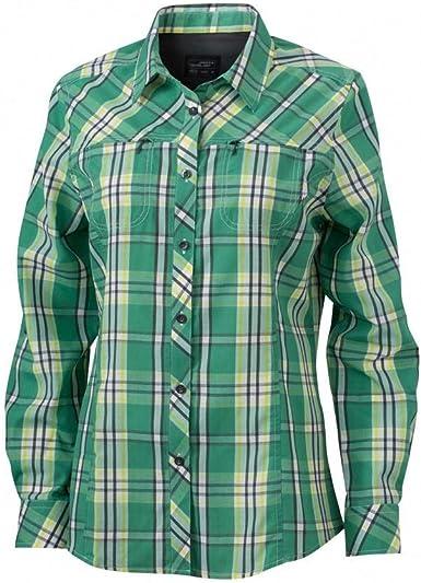 James and Nicholson - Camisa de Manga Larga de Senderismo con protección UVA para Mujer señora (XXL) (Verde/Amarillo Ácido): Amazon.es: Ropa y accesorios