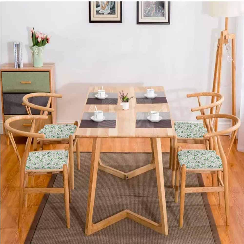 "Leaf Dining Table Chair Ivy Patterns with Tiny Fancy Green Leaves Branches Creme Contemporary Illustration Comfortable Green Brown W13.5"" x L13.5""/4pcs Set"