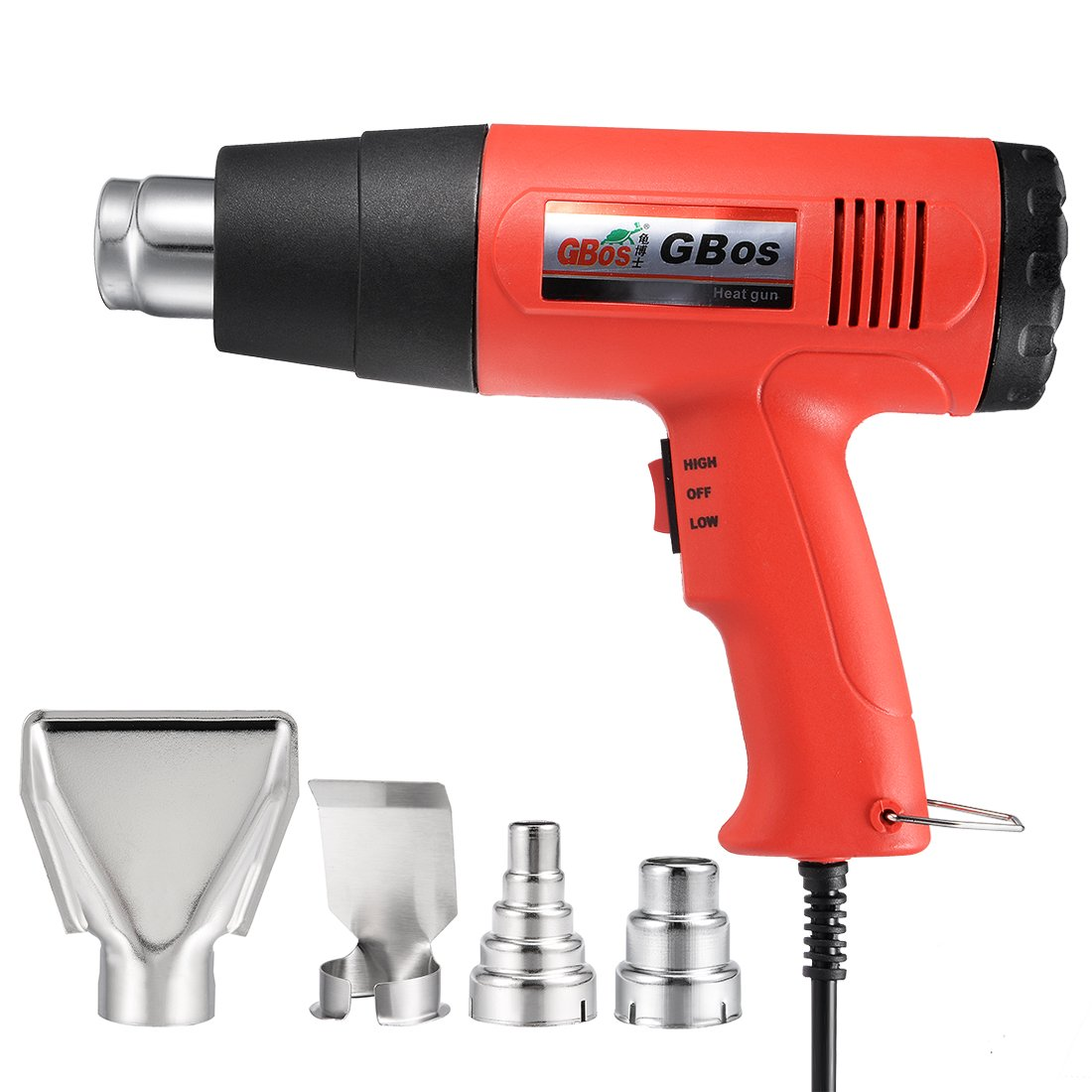 uxcell BOS-882 Professional Heat Gun 1500W 110V with 1022℉/572℉ Dual Temperature Settings Four Nozzle Attachments (Red) by uxcell