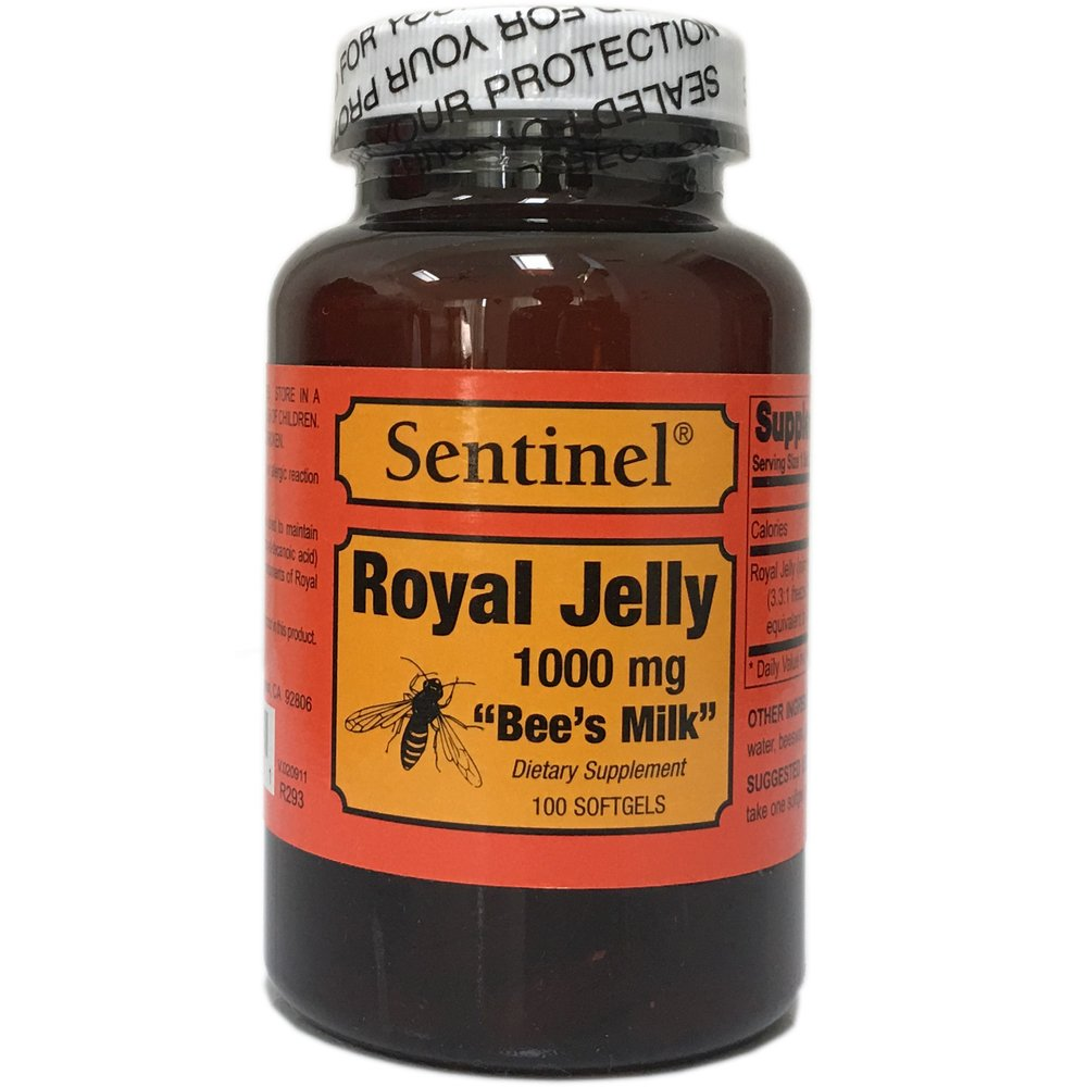 Sentinel Premium Royal Jelly Superfood 1000 mg, Protein Based, Bee's Milk, Natural Skin and Health Nutritive Support, Made in USA, 100 Softgels