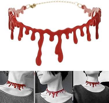 sisileeda - Gargantilla de Guasón Rojo de Sangre de Terror para ...