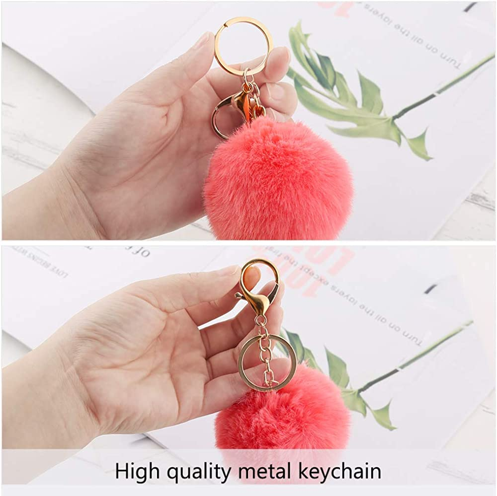 Mix Colors 18 pcs Pom Poms Keychains Fluffy Pompoms Keychain Faux Fur Pompoms Keychain Artificial Fur Ball Keychain Faux Rabbit Fur Pompoms Fluffy Accessories Car Bag Charm Puff Ball Keyring