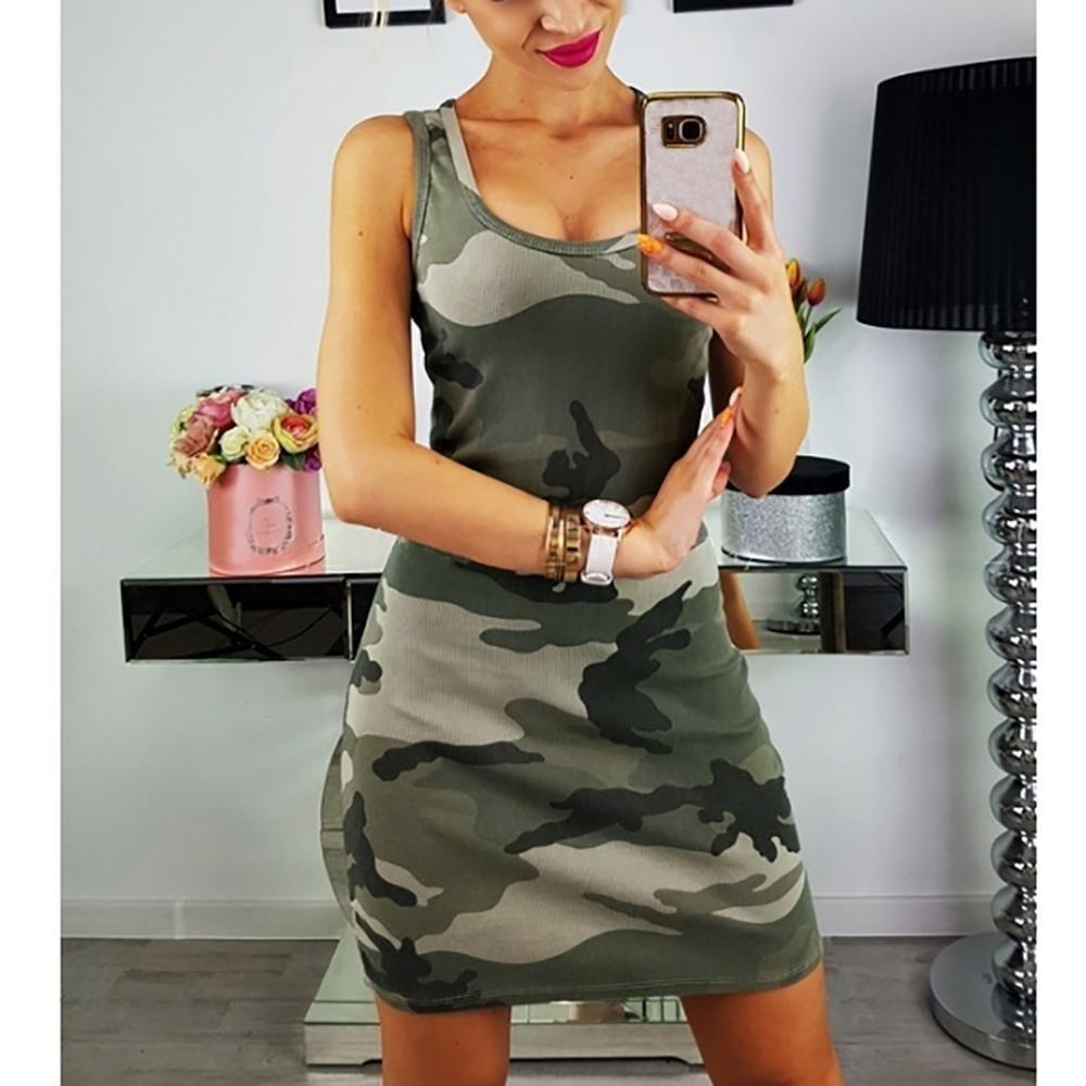 AmazingDays vestidos Vestidos Mujer Playa Fiesta Vestido Vestido Sin Mangas De La Playa del Verano del Vestido De Camuflaje De Las Mujeres del Camuflaje ...