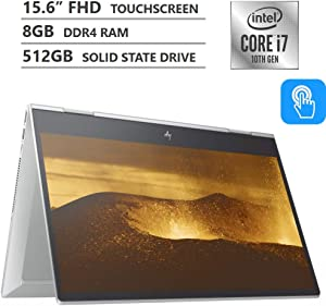 HP Envy x360 Convertible 15.6-inch Full HD Touchscreen, 10th gen Intel Core i7-10510U, 8GB DDR4 Memory, 512GB PCIe NVMe SSD, Natural Silver
