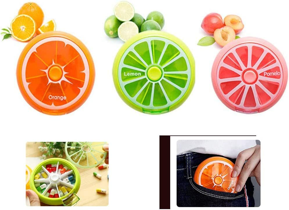 ho Caja para medicamentos giratoria port/átil naranja y rosa 3 colores verde una caja de almacenamiento de la vitamina del bolsillo de una semana