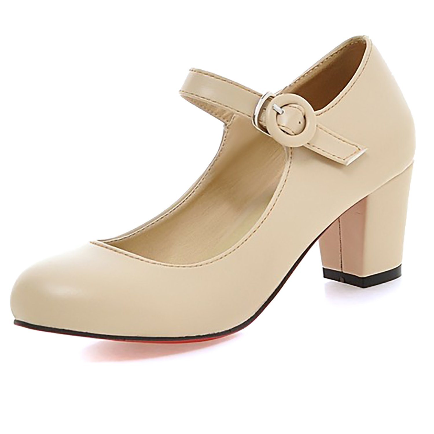 2ba2bae0c63 ODEMA Womens Ladies Mid Block Heel Mary Jane Office Work Formal Strap Dolly  Shoes Size Beige  Amazon.co.uk  Shoes   Bags