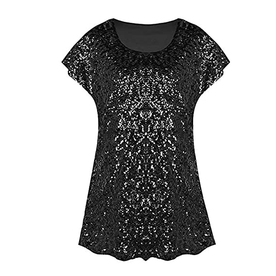 diandianshop Women s Short Sleeve Sequin Top Shimmer Glitter Loose Bat  Sleeve Party Tunic T-Shirts 8c663e69daf