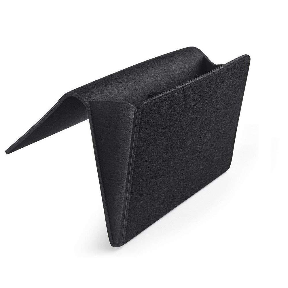 Organisateur de Rangement pour lit /à lint/érieur avec 2 Poches pour t/él/éphone Portable Accessoires Casque Magazines Gris Clair tablettes YuamMei Bedside Caddy